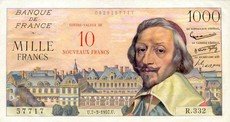 1000 Francs Richelieu Surchargé
